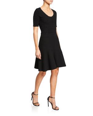 06d6aa7ea6 Diane von Furstenberg Lark Scoop-Neck Short-Sleeve Scallop Dress