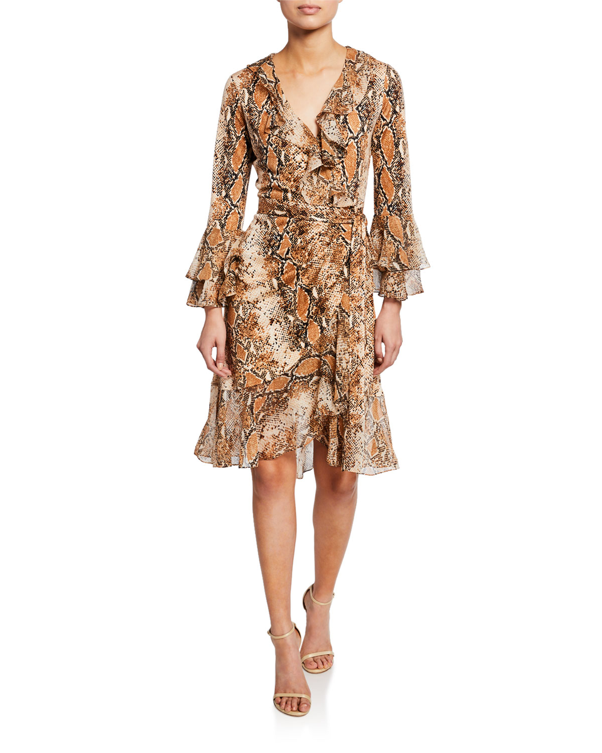 200cefd0fe Diane von Furstenberg Carli Silk Tiered-Sleeve Ruffle Wrap Dress ...