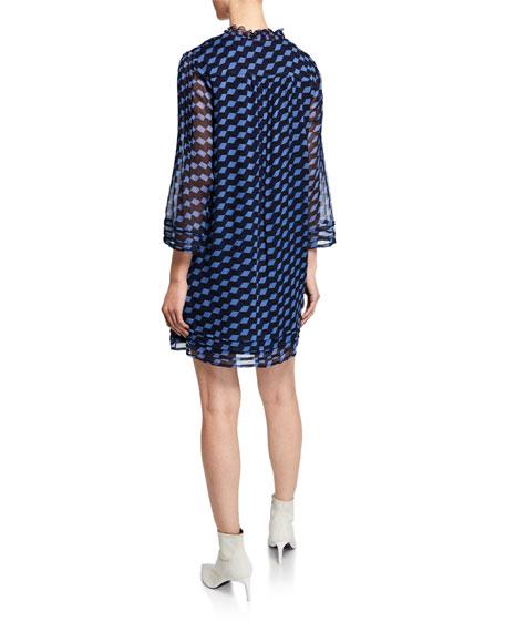 Diane von Furstenberg Layla Silk Pattern Pleated Shift Dress