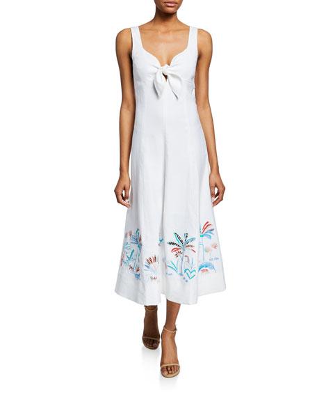 Tanya Taylor Yolanda Sleeveless Tie-Front Midi Dress