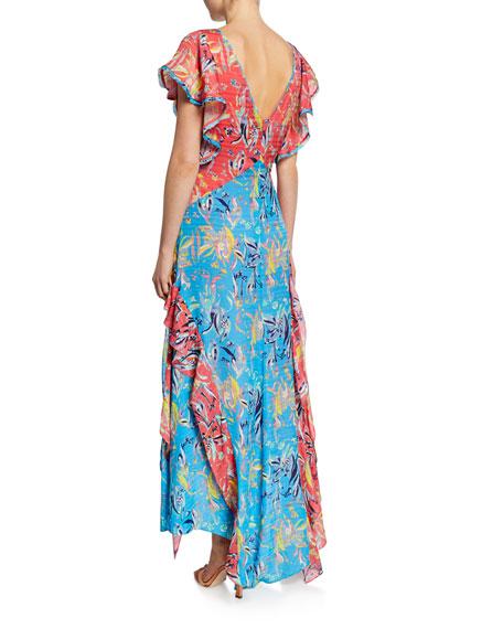 Tanya Taylor Iliana Ruffled Chiffon Floral Long Dress