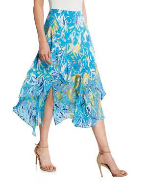 ebdfb950a0 Tanya Taylor Liliana Printed Flounce Midi Skirt