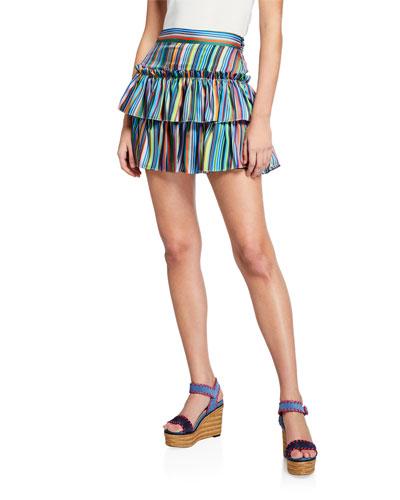 Rainbow Stripes Tiered Twill Mini Skirt