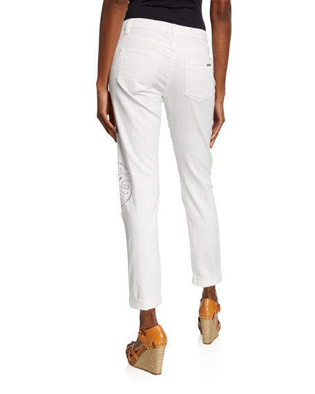 MICHAEL Michael Kors Embroidered Straight-Leg Cuffed Jeans