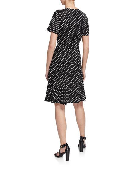 MICHAEL Michael Kors Printed Raglan-Sleeve Flounce Dress