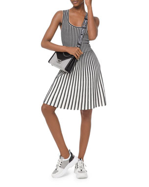587bd2299 MICHAEL Michael Kors Geo Grid Pleated Sleeveless Dress