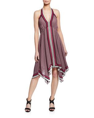 6b3238c2f MICHAEL Michael Kors Border Handkerchief Halter Dress