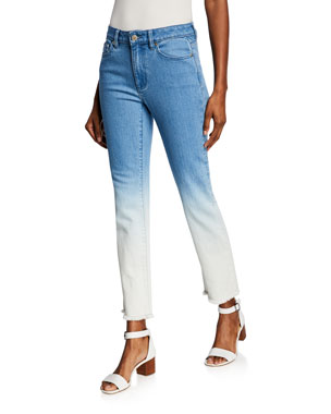 MICHAEL Michael Kors Ombre Straight-Leg Denim Cropped Jeans