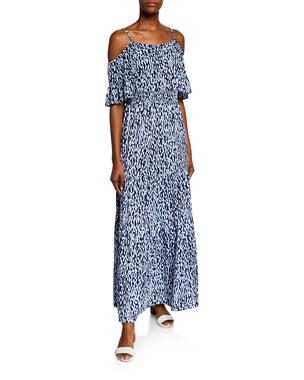 MICHAEL Michael Kors Ikat Cold-Shoulder Short-Sleeve Maxi Dress