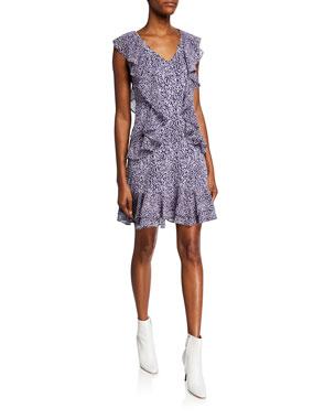 MICHAEL Michael Kors Mini Ikat Sleeveless Cascading Ruffle Dress