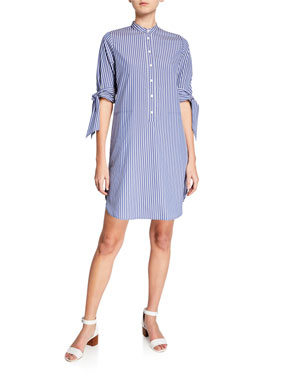 MICHAEL Michael Kors Vertical Railroad Striped Shirt Dress