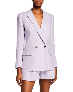MICHAEL Michael Kors Notched-Lapel Double-Breasted Linen Blazer