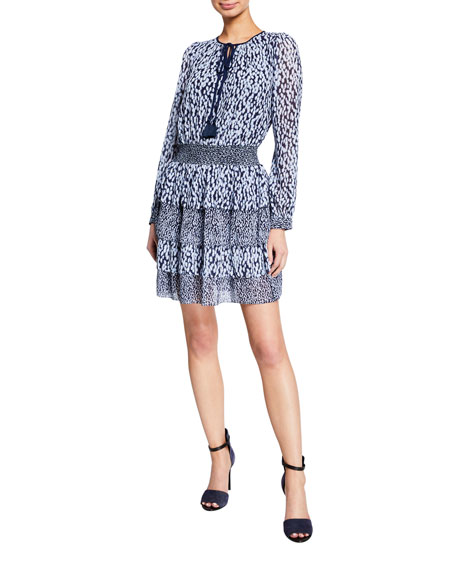 MICHAEL Michael Kors Split-Neck Long-Sleeve Smock-Waist Tiered Dress