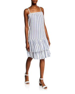 MICHAEL Michael Kors Striped Spaghetti-Strap Smock Slip Dress