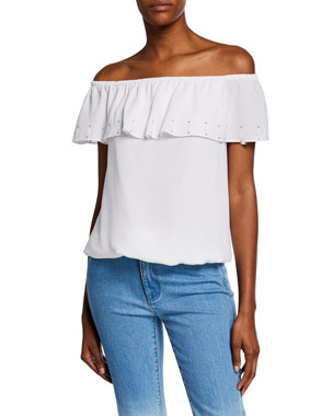63188e8d000 MICHAEL Michael Kors Off-Shoulder Short-Sleeve Ruffle Top