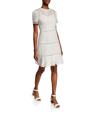 MICHAEL Michael Kors Eyelet Mix Short-Sleeve Cotton Dress