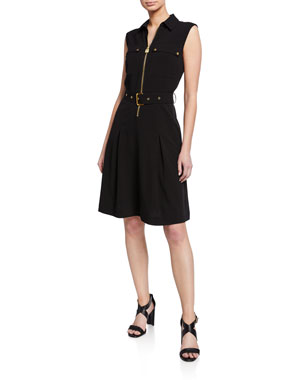 MICHAEL Michael Kors Lock Zip Sleeveless Belted Shirtdress