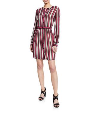 MICHAEL Michael Kors Striped Button-Down Long-Sleeve Pintuck Shirtdress