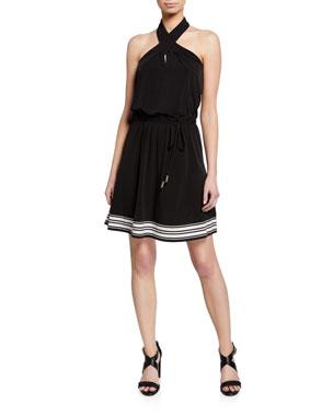 MICHAEL Michael Kors Halter-Neck Striped Border Dress