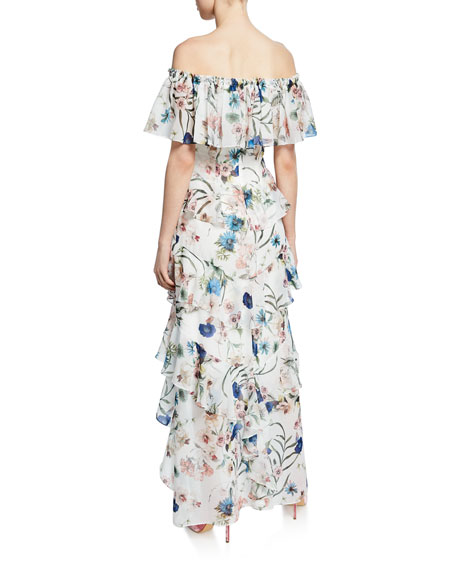 Badgley Mischka Collection Floral-Print Off-the-Shoulder High-Low Tiered Ruffle Dress