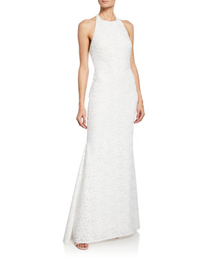 edacffb0022 Badgley Mischka Collection Halter Low-Back Lace Gown
