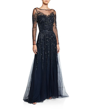 95886fa0afd3 Theia Bateau-Neck Long-Sleeve Beaded Tulle Gown