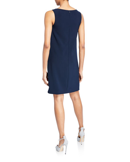 Theia Bateau-Neck Sleeveless Crepe Shift Dress w/ Floral Beaded Detail