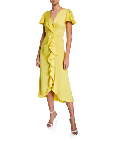 Greta V-Neck Short-Sleeve Ruffle Dress