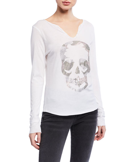 Zadig & Voltaire Tunisien Embellished Skull Long-Sleeve T-Shirt