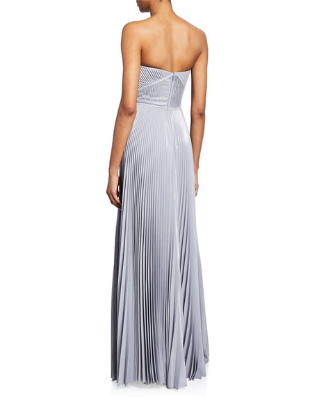 Marchesa Notte Strapless Pleated Lame Gown with Metallic Trim