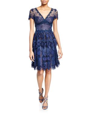 b4d6bb74b9d62 Marchesa Notte V-Neck Short-Sleeve Floral Eyelet Organza & Scalloped  Guipure Lace Dress. Favorite. Quick Look