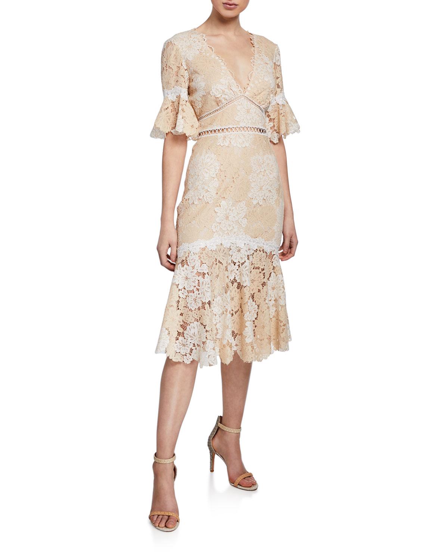 La Maison De Maggy Bondues maggy v-neck elbow-sleeve floral lace dress