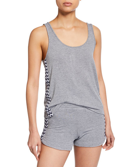 Monrow Loose Scoop-Neck Tank w/ Zigzag Trim