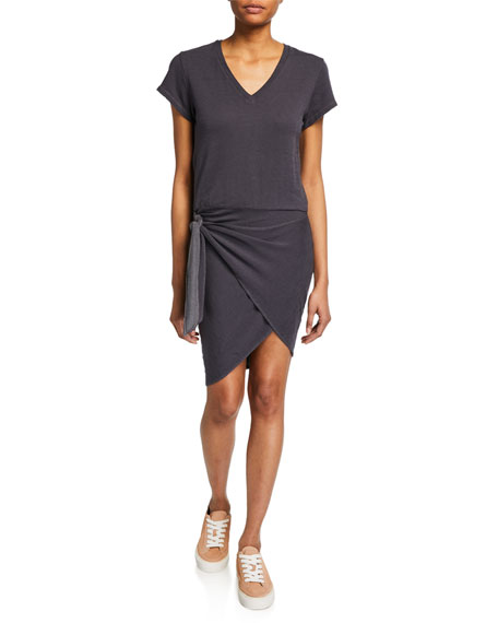 Monrow Super-Soft Short-Sleeve V-Neck Dress with Tie