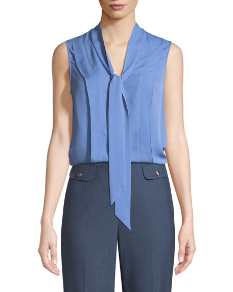 St. John Collection Tie-Neck Silk Double Georgette Shell