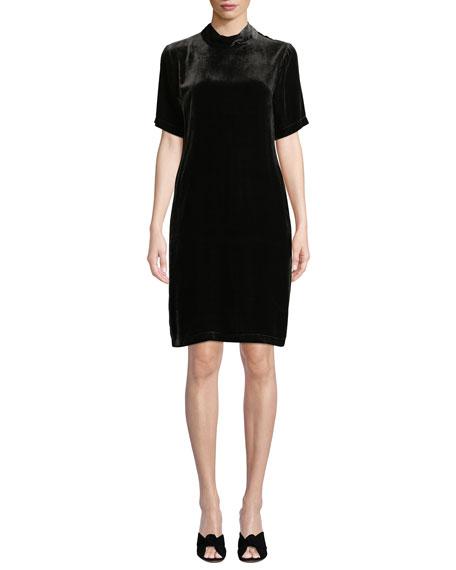 Eileen Fisher Petite Mock-Neck Short-Sleeve Tieback Velvet Shift