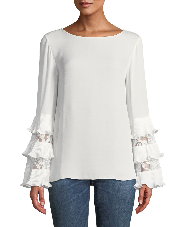00e5be0a8 Kobi Halperin Shira Lace-Inset Silk Blouse | Neiman Marcus