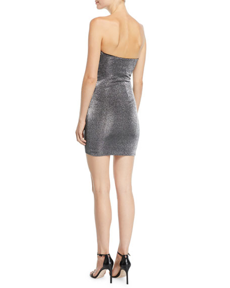 Likely Ali Strapless Metallic Ruffle Mini Cocktail Dress