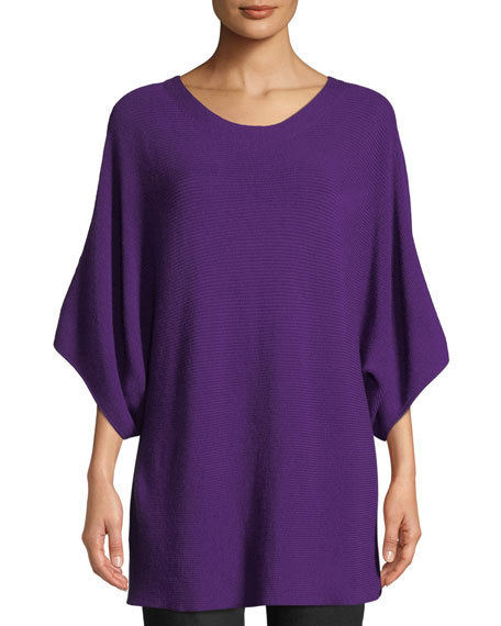 Eileen Fisher Bateau-Neck 3/4-Sleeve Ribbed Merino Wool Sweater
