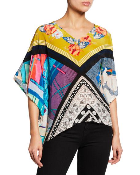 Tolani Plus Size Briyana Asymmetric Printed Silk Tunic