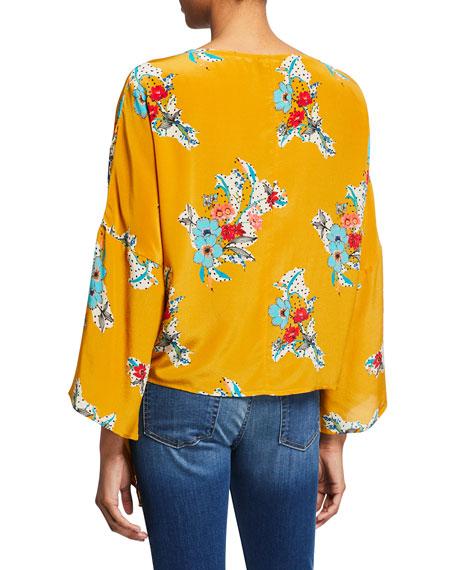 Tolani Ashlyn Floral-Print Bracelet-Sleeve Tie-Front Tunic