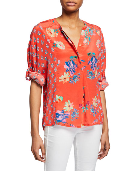 Tolani Plus Size Stella Floral Button-Front Long-Sleeve Tunic