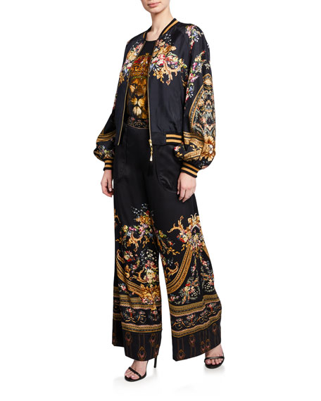 Camilla Cuffed Printed Silk Lounge Pants