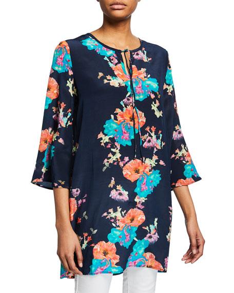 Tolani Plus Size Astrid Floral-Print 3/4-Sleeve Tunic