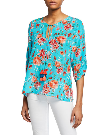 Tolani Plus Size Edith Floral-Print 3/4-Sleeve Tie-Front Silk Tunic
