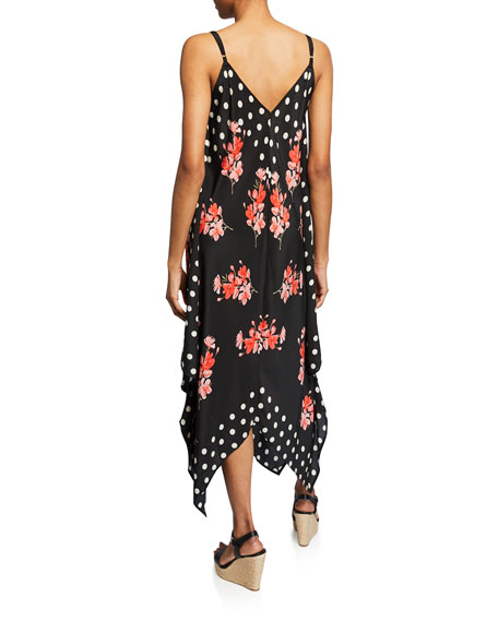 Tolani Drew Floral & Dot Print Silk Handkerchief Dress