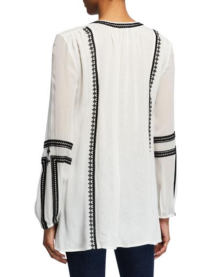 Tolani Lauren Embroidered Long-Sleeve Tunic