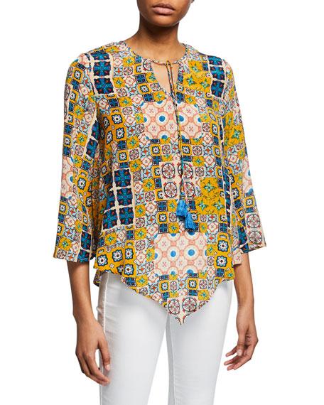 Tolani Plus Size Salerno Tile-Printed Tassel-Tie Silk Tunic