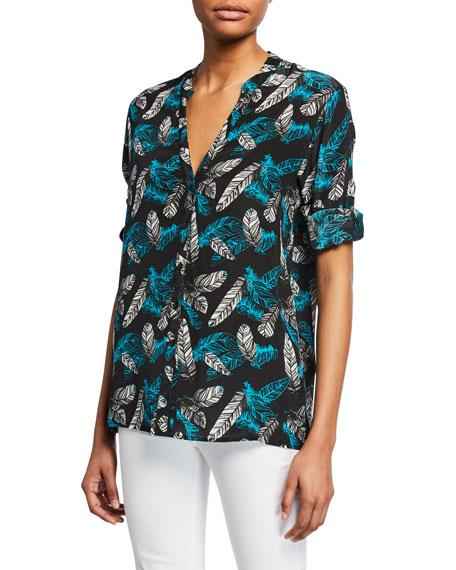 Tolani Plus Size Santorini Feather-Print Long-Sleeve Silk Tunic