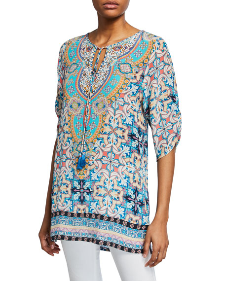 Tolani Amalfi Tile-Print 3/4-Sleeve Long Silk Tunic